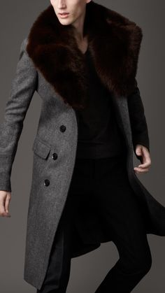 Burberry London Fur Overcollar Pea Coat