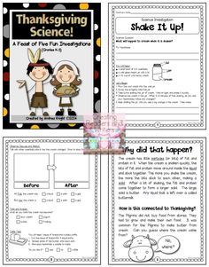 """Will the Feast Float?"" ... A sample investigation from the ""Thanksgiving Science"" pack ... 5 standards-based, collaborative, hands-on science activities to help you celebrate the holiday with your students. (24 pages, $) #Thanksgiving"