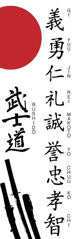 The Code to Live By: Bushido , Gi (justice) ,Yuu (Bravery), Jin (benevolence),Makoto (Veracity),Rei (Politeness) Meiyo (honor), Chuugi (loyalty) Getting back into bushido is very hard trying to live as a warrior of the spirit to rise as a fighting dragon once more.
