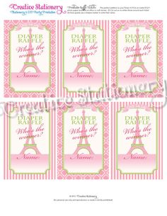 Items similar to Diaper Raffle Tickets Paris Chic Baby Shower. Pink and Green. Coordinates with Paris Chic Pink and Green Party Package and Invitation. on Etsy Paris Baby Shower, Paris Chic, Diaper Raffle Tickets, Green Party, Chic Baby, Pink And Green, Stationery, Packaging, Invitations