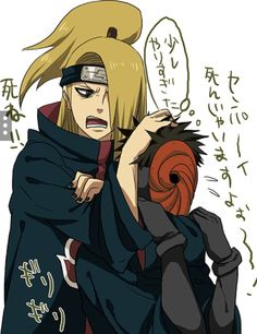"""""""Sempai Sempai Sempai, this hurts!!"""" """"Good! I want it to!! Hmm"""" """"Tobi can't breathe!"""" """"I don't care!! Hmm"""" *Tobi's thought* 'Sempai is in a good mood, he's not blowing Tobi up...'"""