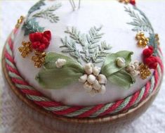 "** ""Mistletoe And Holly""  Silk Ribbon Embroidery  @frenchneedle"