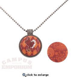 Virginia Tech Fabric Button Necklace- swappable! Yeah that's a word. At Campus Emporium.