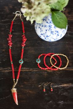 Necklace Tibetan Horn brass inlaid red Coral by MartaDissenys