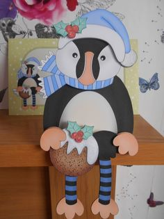 3D On the Shelf Card Kit - Little Christmas Puffin Pilchard has a Christmas…