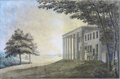 Mount Vernon - Wikipedia, the free encyclopediaMount Vernon with the Washington family on the terrace (Benjamin Henry Latrobe) Where are the slaves who built this structure of George Washington's. Neoclassical Interior, Mount Vernon, First Art, American Revolution, American History, American Presidents, Impressionist, Folk Art, Watercolor Paintings