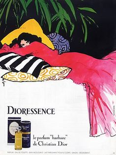 Christian Dior (Perfumes) 1980 Dioressence René Gruau Vintage advert Perfumes illustrated by René Gruau | Hprints.com