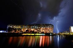 Lightning Strikes at Sporting Events - National Stadium in Beijing, China National Stadium, Beijing China, Lightning Strikes, Event Management, Opera House, Events, Sports, Pictures, Travel