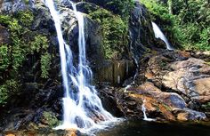 Belize ~ Three Sisters Falls ~ The Mayflower Bocawina National Park, just recently declared a National Park in 2001, can be found on a feeder road off mile six on the Southern Highway, just 4 1/2 miles in. The narrow dirt road shaded by the jungle's lush canopy of trees inspires excitement in travelers and hints at the adventures to be found in the hidden destination covering over 7,000 acres.