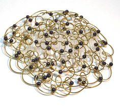 "Wire #Kippah - Gold and Black Hematite 4.5"" #bat mitzvah #Jewish gifts #Judaica #shabbat @LinorStore Jewelry by Linda Blatchford"