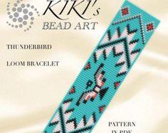 Bead loom pattern Thunderbird LOOM bracelet pattern in PDF Loom Bracelet Patterns, Bead Loom Bracelets, Bead Loom Patterns, Peyote Patterns, Native Beading Patterns, Tribal Patterns, Beaded Hat Bands, Indian Beadwork, Native Beadwork