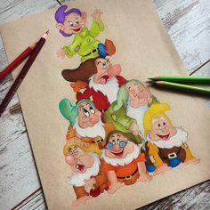 disney - - New Ideas Disney Character Drawings, Disney Drawings Sketches, Cute Disney Drawings, Cool Art Drawings, Colorful Drawings, Cartoon Drawings, Cartoon Art, Disney Kunst, Arte Disney