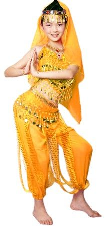 Watch your little girls sparkle in this Arabian Princess Girls Kids Belly Dancer Bollywood Costume! Great for Halloween, parties, or stage.