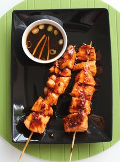 Honey & Chilli Salmon Kebabs with Soy Dip