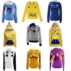 Pikachu/Stitch/Panda Zip Fleece Hoodie Hoody Hooded Sweatshirt Coat Jacket S-XXL