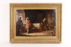 A large English, century painting, Cavaliers in a Tavern, oil on canvas, signed lower right W. Hay in heavy gilt wood and gesso frame. Open Window, Cavalier, Oil Painting On Canvas, 17th Century, Scene, English, Ruby Lane, Antiques, School