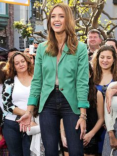 not only is she stunning but this outfit is perfection... love it! would have to change jeans for work!