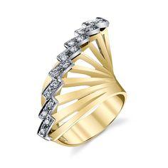 RETRO GOLD & DIAMOND FAN RING