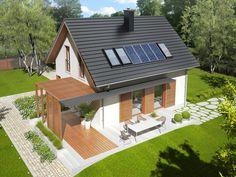 Projekt domu AC Lea (wersja B) CE - DOM - gotowy koszt budowy Big Houses, Little Houses, Modern Style Homes, House Elevation, Architect Design, Home Fashion, Solar, Exterior, House Design