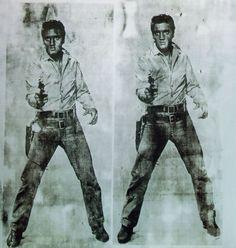 "deadartists: "" Andy Warhol - Double Elvis Silkscreen ink on aluminum paint on primed canvas (via artchive) "" Jamie Wyeth, Andy Warhol Pop Art, Roy Lichtenstein, Jean Michel Basquiat, Keith Haring, Modern Art Artists, Collages, Richard Hamilton, Wild In The Country"