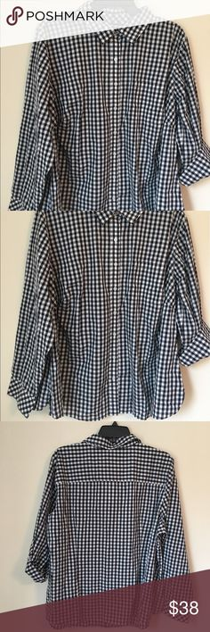 TALBOTS PLUS SIZE Checkered button down shirt 22W Brand new with tags Talbots plus size top.  Dark navy blue/black ( depending on the lighting)checkered shirt. Long sleeves, but can be worn with the sleeves rolled up.  Light weight, slightly sheer perfect for summer.  Size: 22W Talbots Tops Button Down Shirts