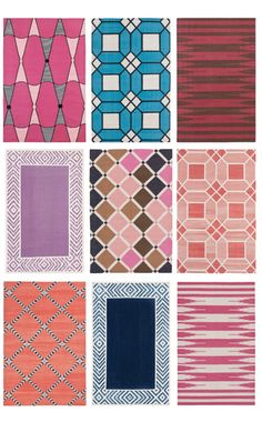 Patterns/Colors -- Selection from Madeline Weinrib's new collection of cotton rugs. (Compilation photo by Jamie Meares of Isuwanee.com, via Flickr)  For full selection/prices/etc, see http://madelineweinrib.com/carpets-category/cotton.html