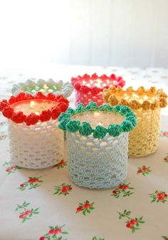 Bobbled Candle Holder Cover - free pattern from Rose Hip.  What a great idea for little gifts!  Click picture to get the pattern