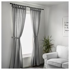 IKEA - LENDA, Curtains with tie-backs, 1 pair, , The curtains lower the general light level and provide privacy by preventing people outside from seeing directly into the room.The tab heading allows you to hang the curtains directly on a curtain rod. Ikea Curtains, No Sew Curtains, Drop Cloth Curtains, Green Curtains, Rustic Curtains, Curtains Living, Rod Pocket Curtains, Velvet Curtains, White Curtains