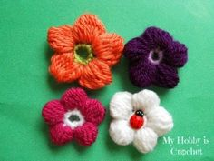 5 Petals Cluster Flower- Free Crochet Pattern with step by step pictures and Chart by Myhobbyiscrochet