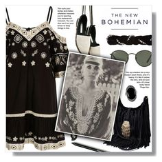 """""""The New Bohemian: Black&White"""" by the-amj ❤ liked on Polyvore featuring River Island, Bobbi Brown Cosmetics, American Eagle Outfitters, Ray-Ban, Gucci and Le Vieux"""