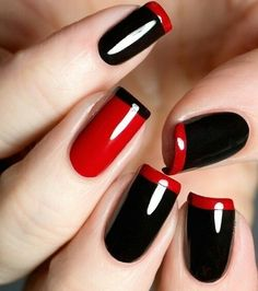 Black and Red Nails, really thin free edge. Super sexy.