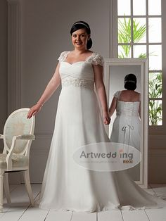 Crisscrossed Sweetheart Cap Sleeved Chiffon Empire Wedding Gown