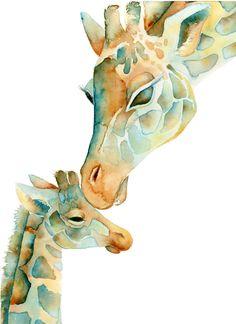 8x10 Print, Mom and Baby Giraffe, Nursery Decor, Baby Shower, Yellow and Aqua Nursery Art on Etsy, $24.00