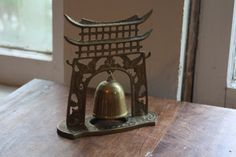 Asian Brass Standing Temple Bell. Gong. Altar. Pagoda. by Recy