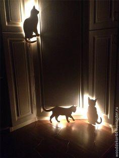 Купить Ночник кошка - ночник в детскую, ночник из дерева, ночник ручной работы, ночник в спальню