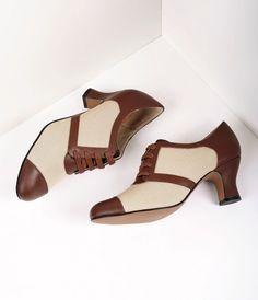 Royal Vintage 1930s Style Brown & Tan Oxford Evelyn Heels