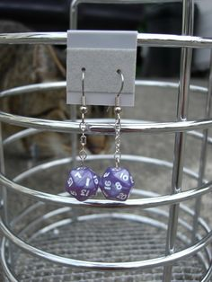 Purple Mini D-20 Chained Earrings.