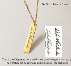 Personalized Handwriting Bar Necklace - Engraved Signature Bar Necklace - Memorial Gift - Fine Jewelry