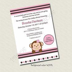 Printable Baby Shower invitation Girl Monkey custom
