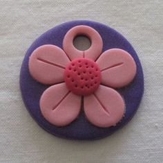 Polymer Clay Fimo Flower Focal Disc Pendant 44mm purple & pinks