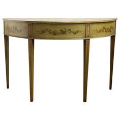19th Century English Adam Style Paint Decorated Demilune Console Table | 1stdibs.com