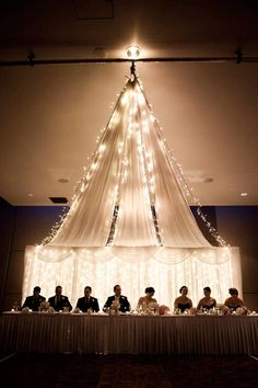 Wedding decorating inspiration! Love the backdrop behind this bridal table. // Photography: Deep Grey Photography