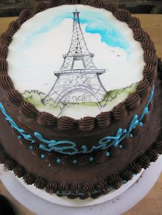 painted eiffel tower cake | by Karen Portaleo