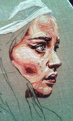Embroidered portraits by Julie Sarloutte