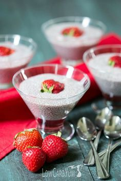 You'll love this low carb strawberry almond milk chia pudding. The fruity flavor is very refreshing and it's a tasty way to get the benefits of chia seeds. | LowCarbYum.com