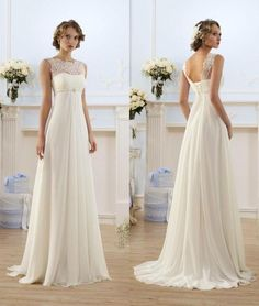 Potential back-up dress if what I want isn't available. Lace Chiffon Empire Wedding Dresses 2016 Sheer Neck Capped Sleeve A Line Long Chiffon Wedding Dresses Summer Beach Bridal Gowns Hot Selling Weddings Dresses Weding Dresses From Bestdeals, $65.88| Dhgate.Com