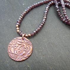 Handmade Copper Leaf Motif and Garnet by PreciousSparkleGifts, £34.00