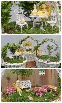 charmed gardens a collection of fairy miniature garden making tips, container gardening, crafts, gardening, terrarium, Fairy Gardens in a basket at Garden Therapy