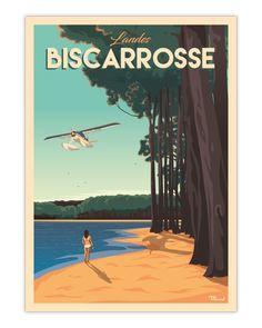 Découvrez notre Illustration Originale BISCARROSSE située à quelques kilomètres du Bassin d'Arcachon et de la dune du Pilat. Souvenirs d'enfance ou de vacances, Biscarrosse est un lieu si dépaysant et ressourçant. Retrouvez cette atmosphère chez vous avec notre affiche vintage ,en tirage limité, imprimée au coeur des Landes sur un papier couché mat 350g/m² 19€ - 30x40 cm 29€ - 50x70 cm Vintage Beach Posters, Poster Vintage, Marcel, Poster Drawing, Vacation Memories, Summer Pictures, All Poster, Vintage Travel, Vintage Images