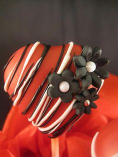Red, Black & White Drizzle Valentine Heart Cake Pop with Flower